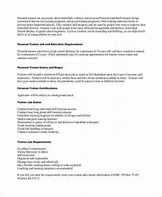 Personal Description Free 9 Sample Personal Trainer Resume Templates In Ms