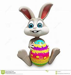 easter bunny with big color egg stock illustration