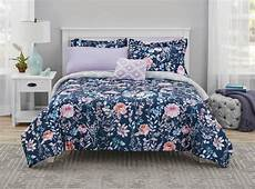 mainstays navy floral bed in a bag coordinating bedding