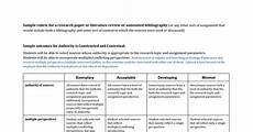 Annotated Bibliography Rubric Rubric For A Research Paper Or Literature Review Or