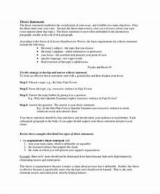 Example Thesis Statement Essay Free 10 Sample Thesis Statement Templates In Ms Word Pdf