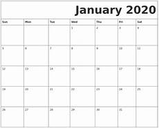 2020 Calendar Free Download Free January 2020 Printable Calendar Blank Templates
