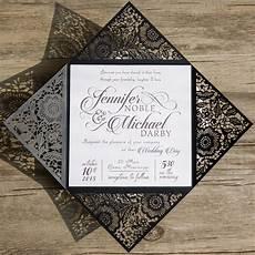 Wedding Invitations Black And White Classic Black And White Damask Wedding Invitations Ewi023