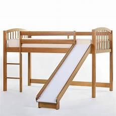 schoolhouse junior loft with slide pecan bunk beds