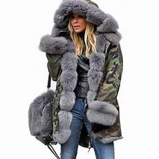 fur lining coat womens winter thick camo