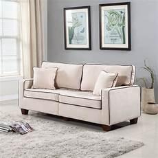 modern two tone beige velvet fabric living room seat