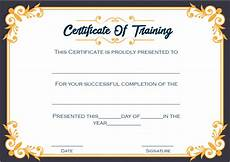 Certificate Of Training Template Free 4 Printable Sample Certificate Of Training Template