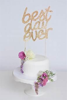 sparkly diy best day ever wedding cake topper onefabday com