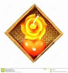 candela a forma di rosa e candela a forma di cuore immagine stock