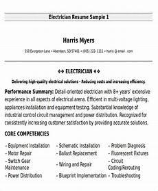 Resume Of Electrical Technician Free 9 Sample Maintenance Technician Resume Templates In