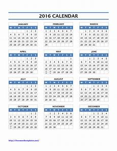 Yearly Calendar Template Word 2016 Calendar Templates
