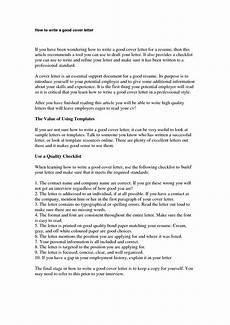 A Good Cover Letter Sample How To Write A Good Cover Letter Letters Free Sample