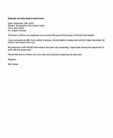 Daycare Notice Letter Two Weeks 9 Two Weeks Notice Letter Examples Pdf Google Docs Ms