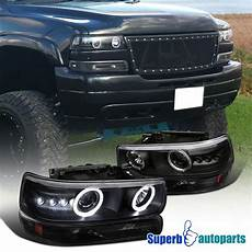 Aftermarket Headlights And Lights For Trucks High Quality Black Led Projector Headlights W Dual Halo
