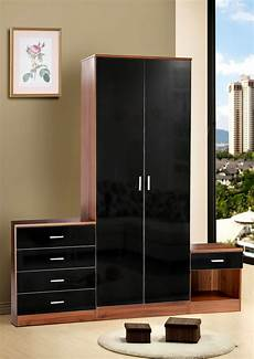 Drp Trading Bedroom Furniture Set Black Walnut Wardrobe by High Gloss Black And Walnut Effect Trio Bedroom Set