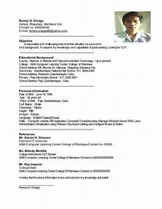 Example Of Resume Form Resume Sample