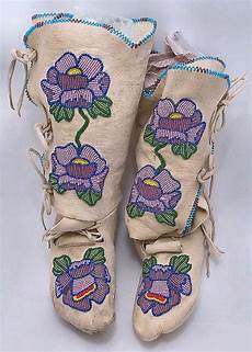 beadwork shoshone beaded high top moccasins c 1960s