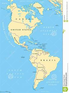 World Map Of North And South America The Americas North And South America Political Map Stock