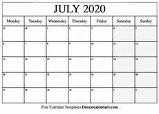 July 2020 Calendar Printable Printable July 2020 Calendar