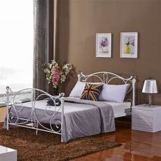 black or white metal bed frame with finials 4 6 ft