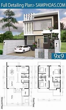 3 bedroom modern home plan 9x9m shoas plansearch in