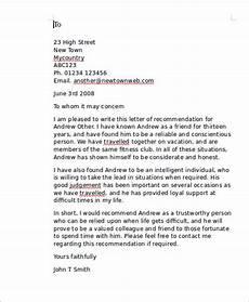 Recommendation Letter Sample Free 7 Sample Personal Recommendation Letter Templates In