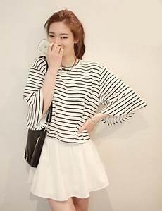 korean fashion women 2 piece dress striped top and white
