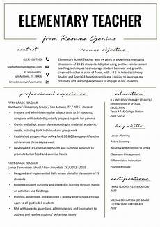 Primary School Teacher Resumes Elementary Teacher Resume Samples Amp Writing Guide Resume