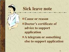 Sick Leave Note Ppt Notice Note Invitation Certificate Powerpoint
