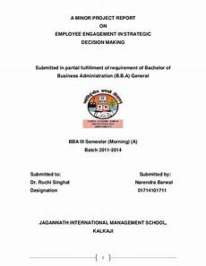 Front Page For Report A Minor Project Report