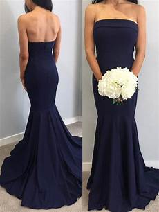 Light Navy Bridesmaid Dresses Strapless Mermaid Navy Blue Long Bridesmaid Dress