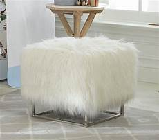 Esituro Ottoman Padded Footstool Fur Pouffe Chair by Mongolian Ottoman Faux Mongolian Fur White Upholstered