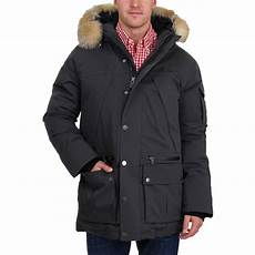 coats pajar pajar s benny mid length downfilled hooded fur trim