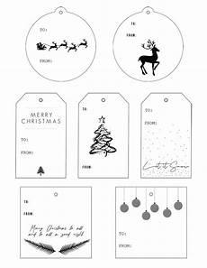 Christmas Labels Black And White Black Amp White Modern Christmas Gift Tags Printable
