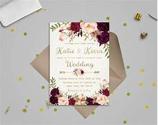 Making Invitations Online For Free Floral Wedding Invitation Template Wedding Invitation Etsy