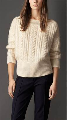 burberry cable knit wool mohair blend sweater in