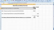 Bank Statement Reconciliation Bank Reconciliation Statement Format In Excel After Seen