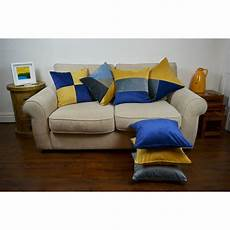 mcalister textiles patchwork velvet navy yellow cushion