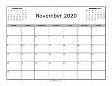 November 2020 Calendar Printable Free November 2020 Calendar Free Printable Allfreeprintable Com