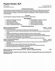 Speech Therapist Resume Example Resume Speech Language Pathologist Resume Example