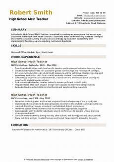 High School Teaching Resume High School Math Teacher Resume Samples Qwikresume
