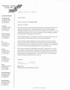 Recommendation Letter For Elementary Student From Teacher Principal Reference Letter 1 Elementary And Esl Teacher