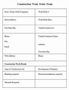 Construction Work Order Template Free 9 Sample Construction Work Order Forms In Pdf