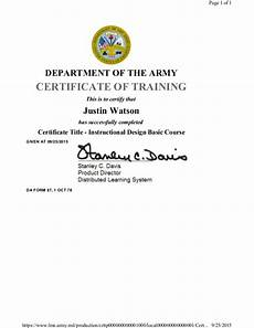 Army Certificates Of Training Instruction Design Basic Course