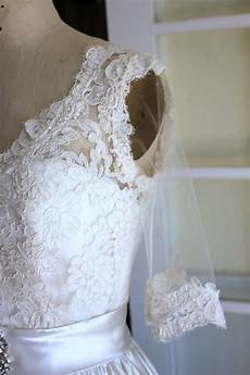 adding a lace overlay to a wedding gown sew featured in
