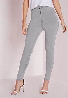 Light Grey High Waisted Missguided Vice Super Stretch High Waisted Skinny Jeans