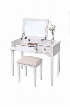 dressing table set with flip up mirror padded stool