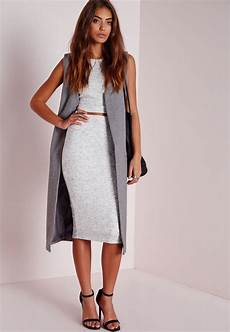 lyst missguided knitted ribbed midi skirt grey in gray