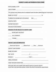 Hotel Credit Card Authorization Form Credit Card Authorization Form Hotel Editable Fillable
