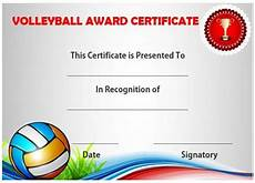 Volleyball Certificate Templates Volleyball Certificate Sample Templates Printable Free